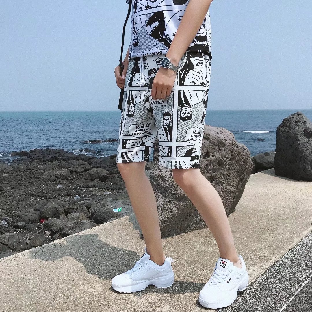 Europe And America Hip Hop Sports INS Shorts Men's Summer Thin Section Loose-Fit Harajuku Couples Shorts Fashion Casual Cartoon