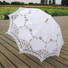 Photography Wedding Umbrellas Lace White Ivory Red Blue Handmade Cotton Embroidered Parisole Umbrellas Victorian Sun For Bride