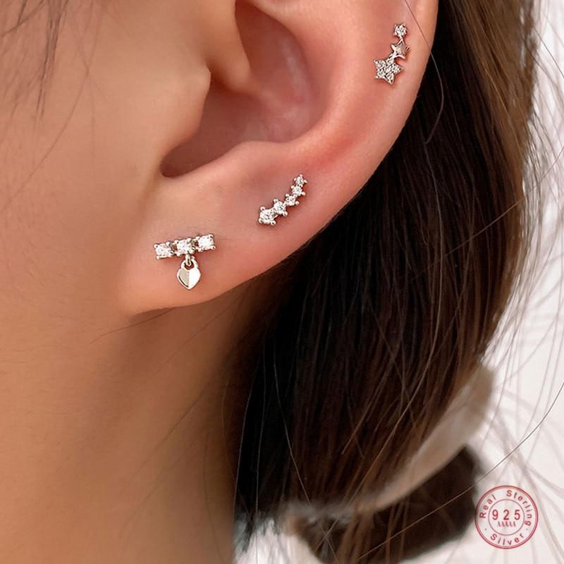 925 argent Sterling Version coréenne Simple étoile combinaison boucles doreilles femmes mode tempérament étudiant fête bijoux