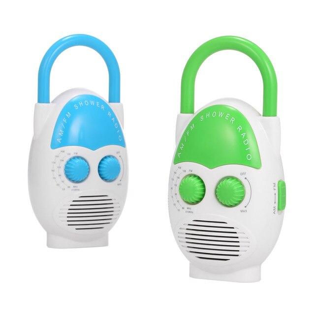 ミニ AM/FM シャワーラジオ浴室水抵抗力がポータブルラジオ音楽ラジオ内蔵スピーカーシャワーラジオ