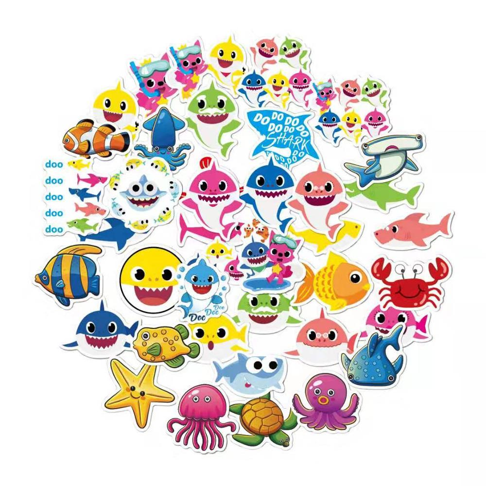 40pcs High-quality Cartoon Shark Birthday Party Gift Pvc Waterproof Stickers Children Birthday Gift