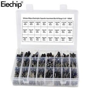 Mix Electrolytic-Capacitors Diy Aluminum Assorted-Kit-Set 500pcs/Lot Box 16-50V 24values