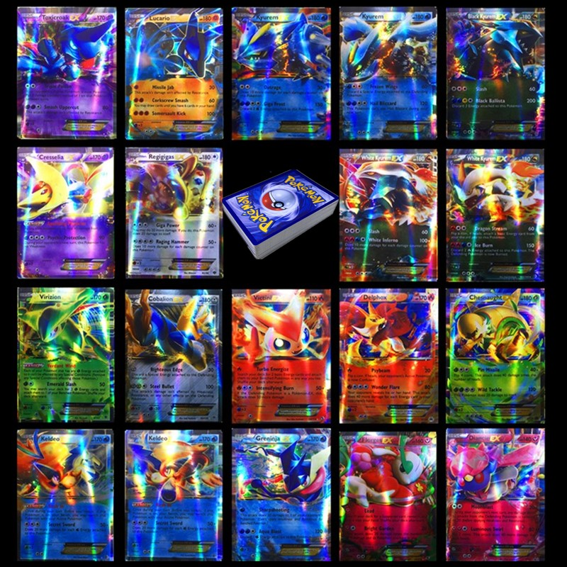 TAKARA TOMY Pokemons Card 100pcs 80EX 20MEGA Non Repeat Shining Cards Game Battle Carte Trading Children Pokemon Card Toy