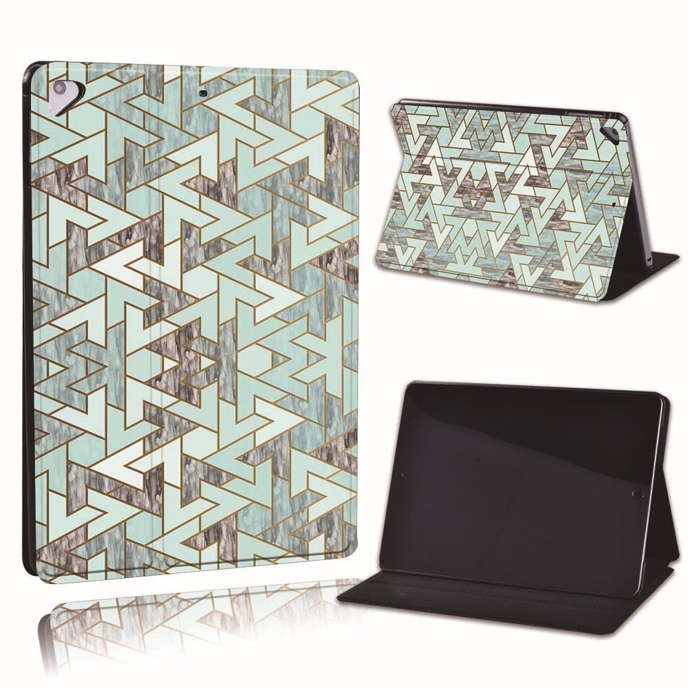 11.green triangle Gold For Apple iPad 8 10 2 2020 8th 8 Generation A2428 A2429 PU Leather Tablet Stand
