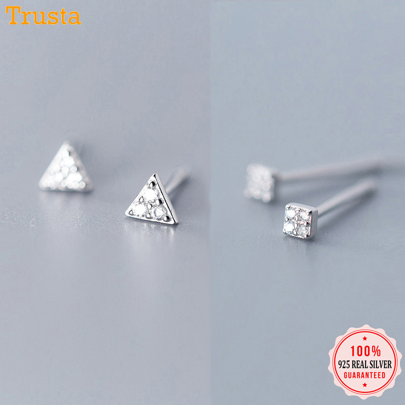 Trusta 925 Sterling Silver Classic Clear Cubic Zircon Triangle Square Stud Earrings For Women Sterling Silver Jewelry DA419