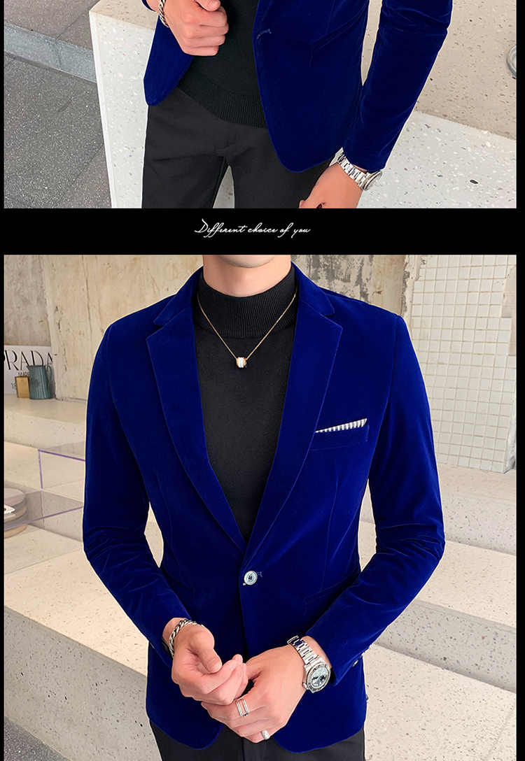 H6014d6de722d4fb7b657e5b1f4d7c6e34 - Autum Velvet Wedding Dress Coat Mens Blazer Jacket Fashion Casual Suit JacketStage DJ Men's Business Blazers Veste Costume Homme