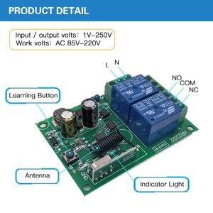 Image 3 - 433MHz 차고 문을위한 보편적 인 무선 원격 제어 AC 110V 220V 2 채널 릴레이 수신기 전기 문 커튼 빛 Led