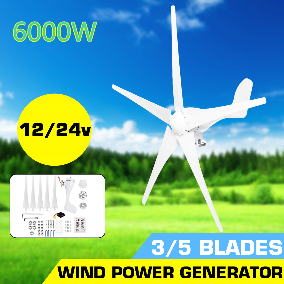 6000W 12V 24V Wind Power Turbines Generator 3/5 Wind Blades Option With Waterproof Charge Controller Fit for Home Or Camping