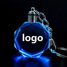 100Pcs ไฟ LED K9คริสตัลโลโก้รถขวดพวงกุญแจ Keychain สำหรับรถยนต์จัดแต่งทรงผม Acessiores ของขวัญ