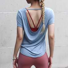 Sport Backless Short Sleeves Flat Shouders Workout Crop Top Gym Shirt Women Breathable Fitness Sports Wear for Women Gym simple design round collar printed short sleeves crop top for women