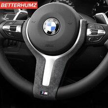 BetterHumz الكانتارا ل BMW F20 F21 F30 F32 F34 E84 1 2 3 4 سلسلة ثونغ عجلة توجيه سيارة غطاء رحلة ملصقا ألياف الكربون