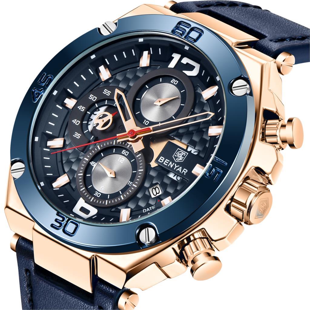 Top Luxury Brand BENYAR 2020 Men Watch Quartz Multifunction Sport Chronograph 30M Waterproof Wrist Watch Clock Relogio Masculino