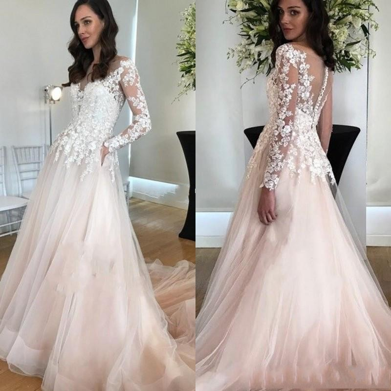 2020 Elegant Blush Pink Lace Long Sleeves Wedding Dresses Beach  See Through A Line Country Garden Bridal Gowns Robes De Mariee