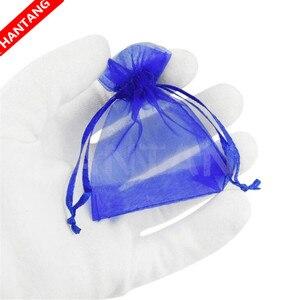 Image 5 - Bolsas de Organza dibujables para joyería, bolsitas de regalo de 7x9, 9x12, 10x15, 13x18, 17x23cm, para boda bolsita de Organza/Comunión, Deco 5z, 100 Uds.