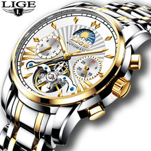 2019 LIGE Mens Watches Top Luxury Brand Fashion Tourbillon Automatic Mechanical Watch Men Waterproof Skeleton Clock Montre Homme(China)