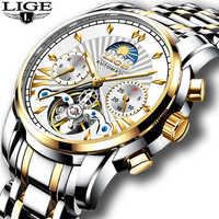 2019 LIGE hommes montres Top luxe marque de mode Tourbillon automatique mécanique Montre hommes étanche squelette horloge Montre Homme