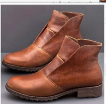 2019 Autumn new Women Boots Big Size square heels slip on vintage PU leather  women shoes W63