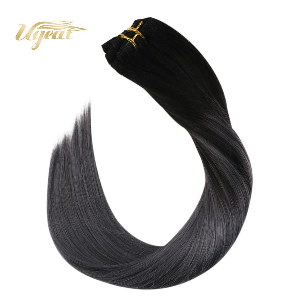 Clip On Hair Extensions Straight Human Hair Machine Made Remy Brazilian Hair 14-22