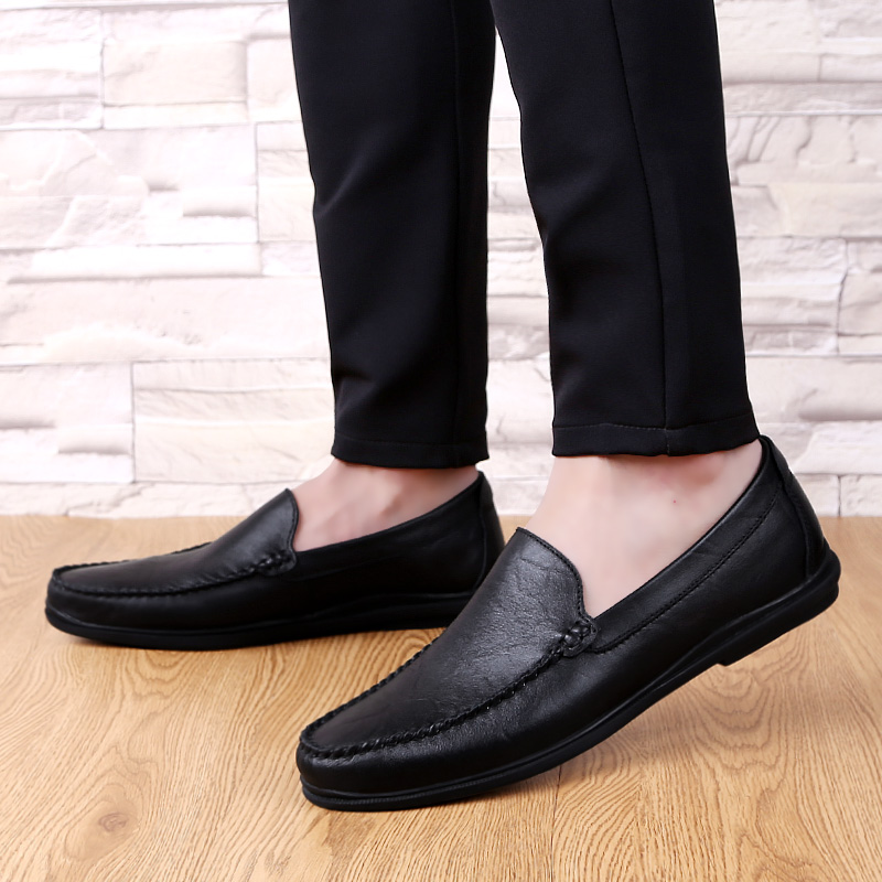 Men genuine Leather Formal Loafers Version Slip-On Driving Dress business Loafers round Toe Moccasins Wedding party Shoes a4