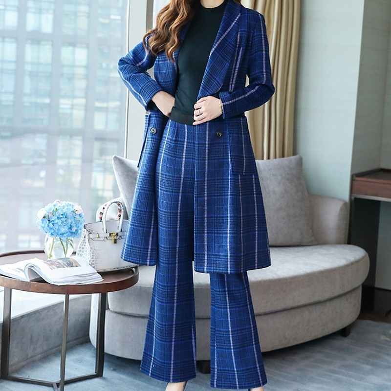 Office Ladies Korean Plaid Slim Fit Womens Two Piece Suits Double Breasted Medium Length Coats Full Length Zip Wide Leg Pants