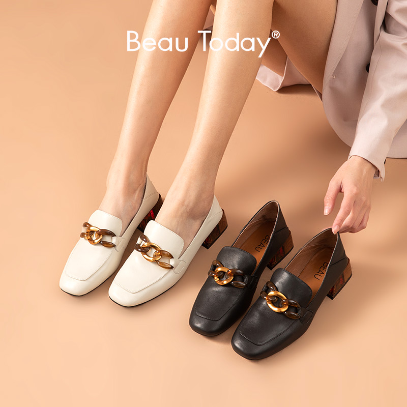 BeauToday Loafers Women Sheepskin Genuine Leather Metal Decoration Square Toe Slip-On Ladies Casual Office Flat Shoes 15310