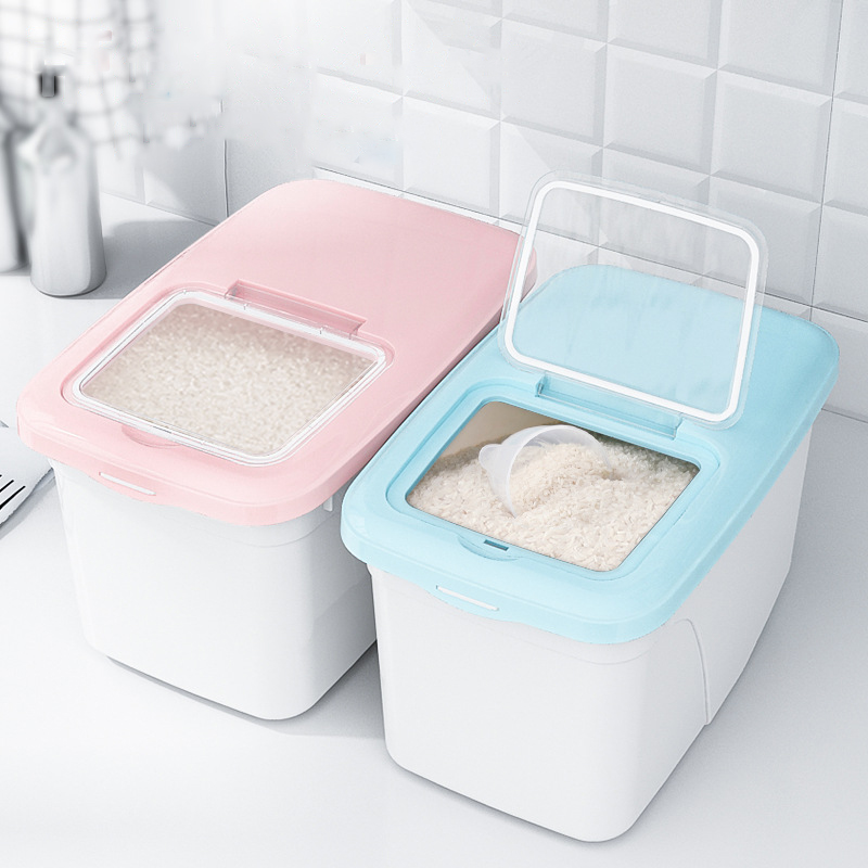 Nordic Plastic Cereal Dispenser Storage Box Kitchen Food Rice Grain Container Organizer Grain Storage Cans Container Jars