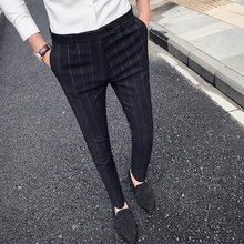 Fashion Business Casual Men Slim Elegant Perfume Masculino Dress New Striped Trousers Mens Suit Pants(China)
