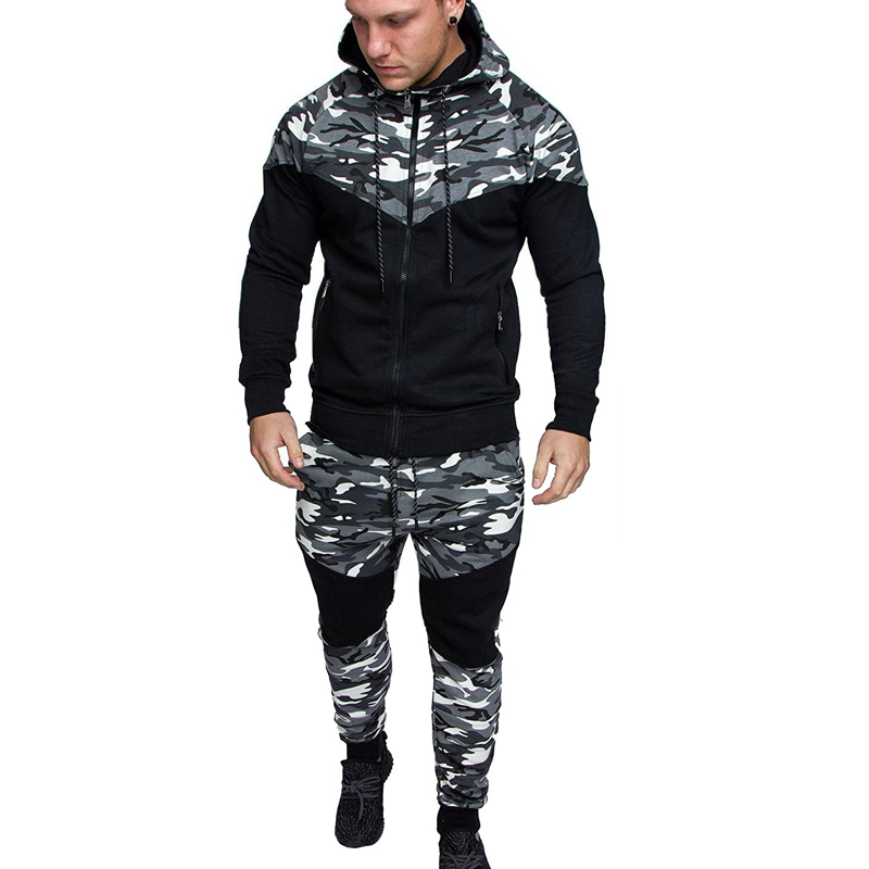 Spring and autumn new men's casual suits fashion camouflage stitching hooded sweater men's outdoor sportswear + pants sports sui 2