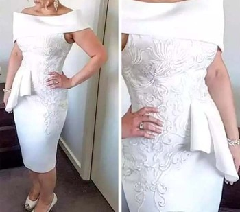 Knee Length Mother Of The Bride Dresses Sheath Off The Shoulder Appliques Plus Size Short Groom Mother Dresses For Weddings