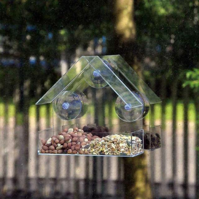 Transparent acrylic bird feeder parrot fountain outdoor bird feeder on glass Sucker feed bird pet feeder 30N29