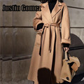 New High Quality Luxury Cashmere Coat Fall Spring Outerwear Female Wool Coat Loose Oversize Women's Trench Coat With Belt