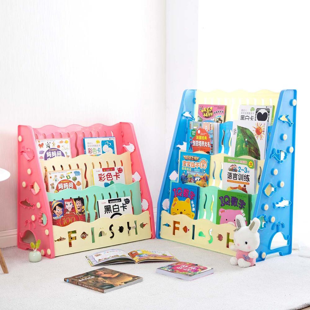 3/4 Layers Children's Desk Small Bookcase Floor Storage Rack Student Desktop Simple Combination Bookshelf