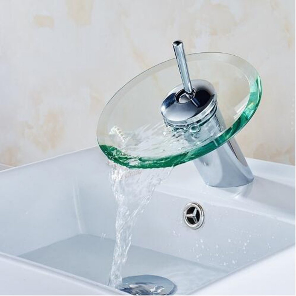 Single Lever Hot And Cold Mix Tap Desk Mounted Glass Waterfall Bathroom Kitchen Sink Faucet Round Waterfall Chrome Basin Faucet