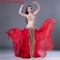 Dancer's Vitality New Luxury Belly Dance Suit 3pcs Bra+Skirt+Scarf Women Ballroom Dance Clothes Kids Stage Dance Set M,L