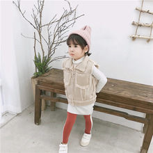 New autumn /winter Korean style Artificial fur with skin sleeveless vest outwear for girls