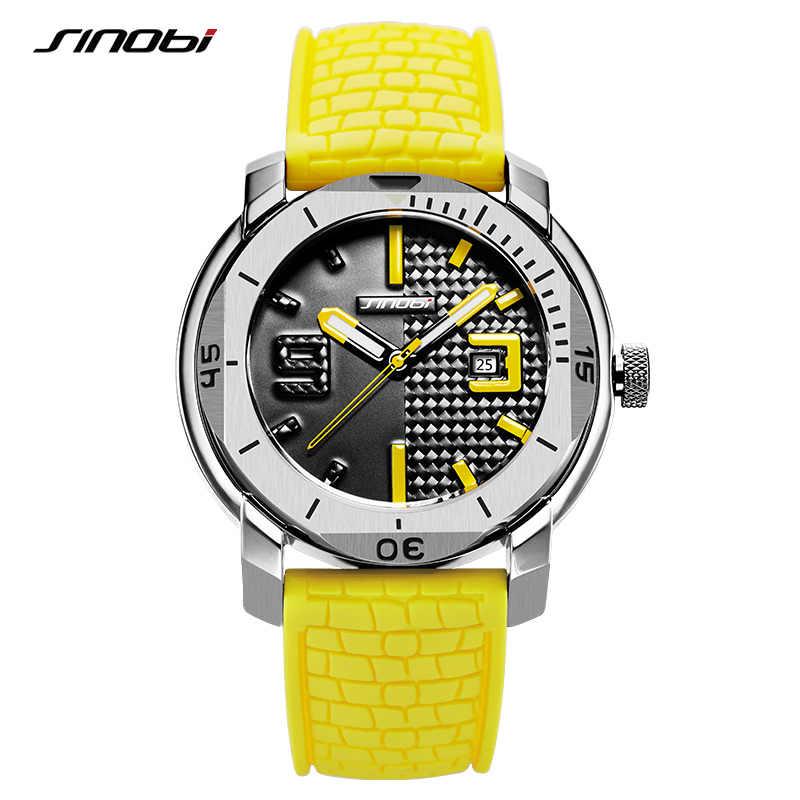 Reloj Masculino nuevo reloj de pulsera deportivo de cuarzo SINOBI para hombre de marca de lujo superior reloj de silicona para hombre reloj militar de acero inoxidable