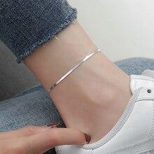Браслеты-анклеты LISM женские из серебра 925 пробы, анклеты с плоской змеиной цепочкой для ног, ювелирные изделия для босоножек, ножные браслет...