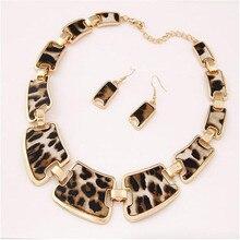 Новейшая мода ожерелье и серьги набор очаровательные блестящие металлические леопардовые вечерние наборы свадебных ювелирных изделий колье эффектное