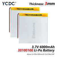 3.7V 6000mAH 30100100 Polymer lithium ion / Li-ion battery for tablet pc texet TM-7858 lrbis TZ 82 7 inch 8 inch 9inch batteries