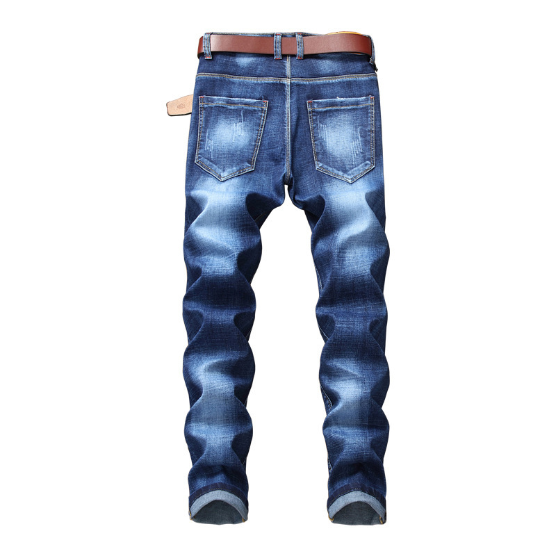 New Mens Floral Embroidery Denim Pencil Pants Vintage Washed Slim Fit Autumn Full Length Male Trousers Beggar Streetwear Jeans