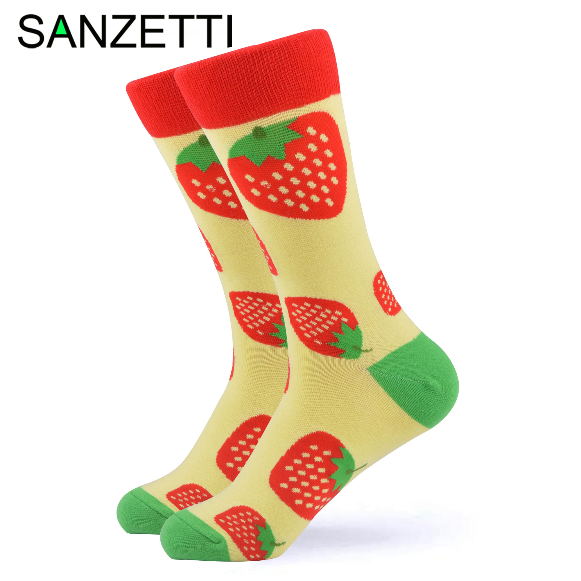 SANZETTI 1 Pair 2020 New Colorful Bright Women Socks Novelty Cute Female Combed Cotton Party Wine Gifts Create Dress Happy Socks