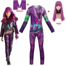 Kızlar torunları 3 Mal/Evie Bertha Maleficent Cosplay kraliçe Audrey kostüm kızlar için cadılar bayramı partisi giyim 3D tulumlar