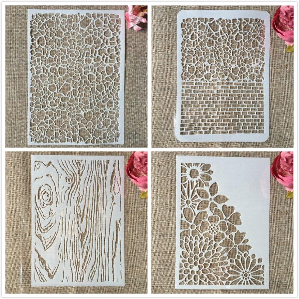 4Pcs/Lot 29cm A4 Mosaic Brick Wooden Daisy DIY Layering Stencils Painting Scrapbook Coloring Embossing Album Decorative Template