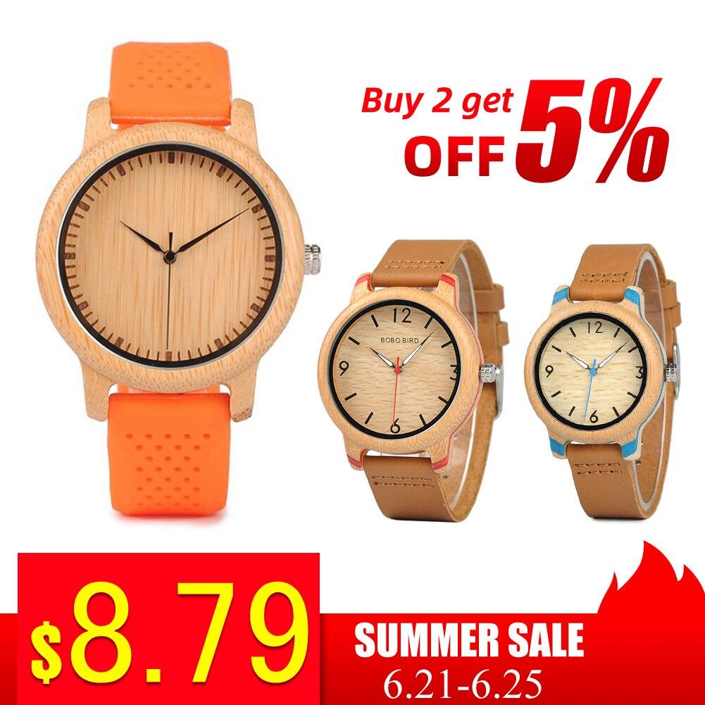 BOBO BIRD Wood Watch Men Ladies Clearance Sale Promotion Quartz Wristwatches Male Women Leather Strap Relogio Masculino Dropship
