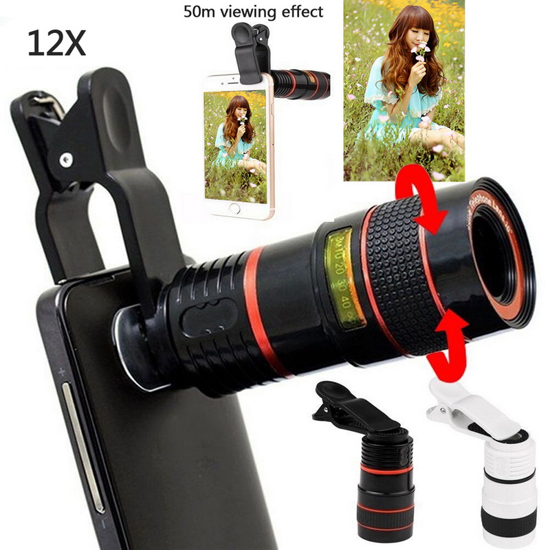 8X 12X Mobile Phone Lens Phone Telescope Zoom External Lens Camera Lenses For IPhone Smartphone