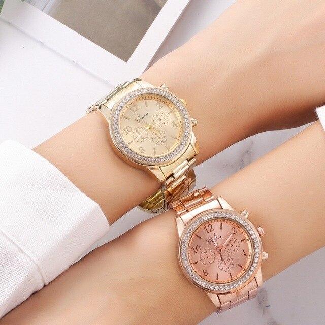 Relógio para mulheres de luxo moda genebra strass aço inoxidável falso três olhos quartzo feminino relógio presente para senhora relógio feminino 6