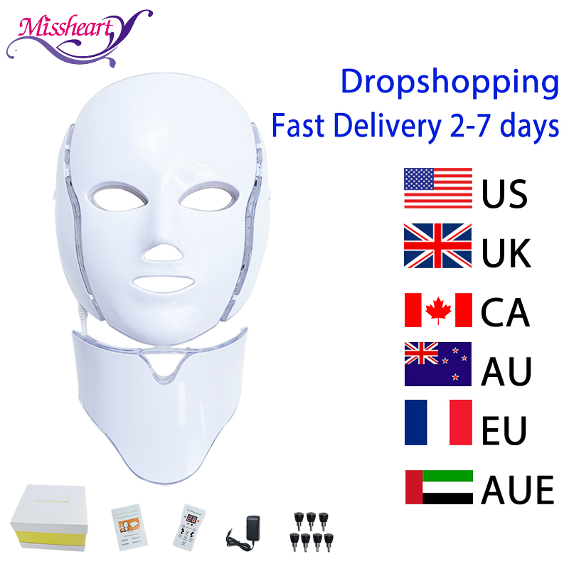 7 Colors Electric Led Facial Mask With Neck Machine Beauty Photon Therapy Anti Acne Tighten Whitening Instrument