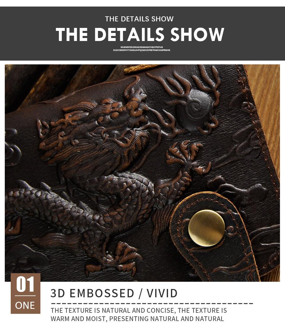 genuíno dragão emboss checkbook ferro corrente organizador carteira bolsa embreagem 1088