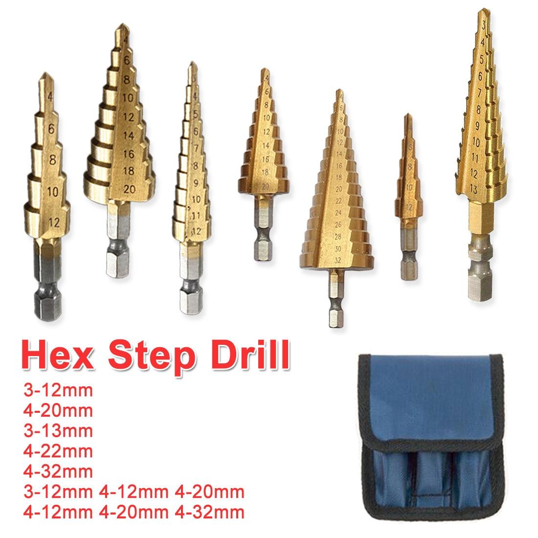 3pcs 3-12mm//4-12mm//4-20mm Hex Shank HSS Steel Straight Slot Hole Step Drill Bits