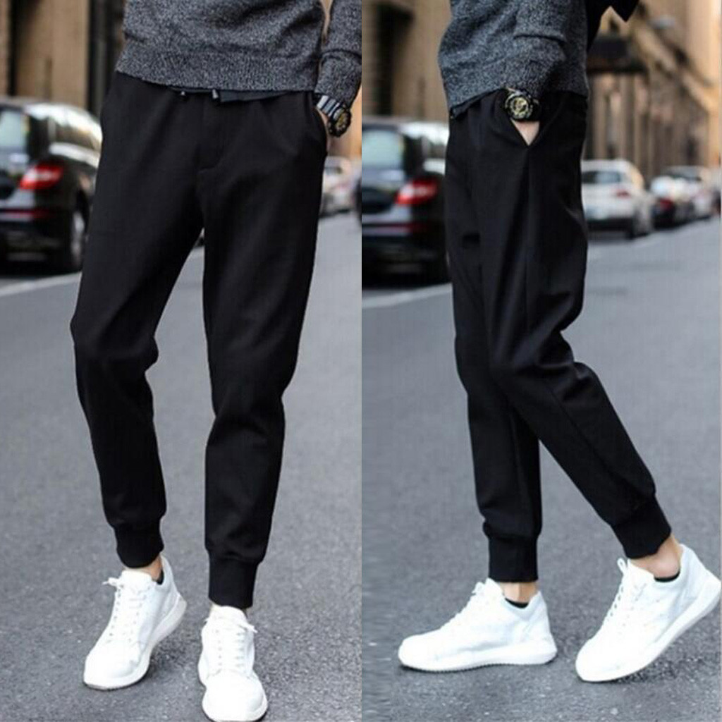 Black Sport Pants Fashion Mens Solid Color Streetwear Drawstring Pocket Sports Trousers Casual Beam Feet Pants Ropa Hombre
